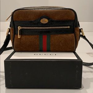 Gucci Ophidia Mini Suede & Leather Crossbody Bag